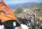 Bajrang Dal activists line up outside Sufi saint Baba Budangiri's dargah in Chikmagalur to perform Datta Jayanti puja