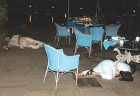 Winter of Tragedy: Bodies of foreign guests lie by the poolside at the Taj Mahal hotel