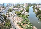 Sorry river: An aerial view of Central Chennai, with the filth-filled Cooum river