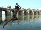 Dive in A young man dives into the Gomti from the ghats, downstream from the Munim Khan Bridge