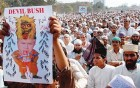 Muslims at a recent anti-Bush protest rally in Mumbai