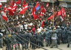 CPN-M activists and students at an anti-monarchy protest in Kathmandu in April '06. Three people were killed in police firing.
