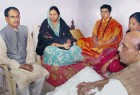Tight fit: The sadhvi (third from left) with senior BJP leaders