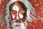 A portrait of Rabindranath Tagore in blood contributed by 30 students of a college in Chennai protesting the theft of Tagore's Nobel Prize from the university museum in Shantiniketan on 24th March