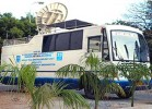 Remote eye: Mobile van equipped with satellite dish allows people to be examined in hospitals hundreds of miles away