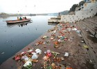 Offerings left by the devout on the banks of the Yamuna after a holy dip in the river on Kartik Purnima